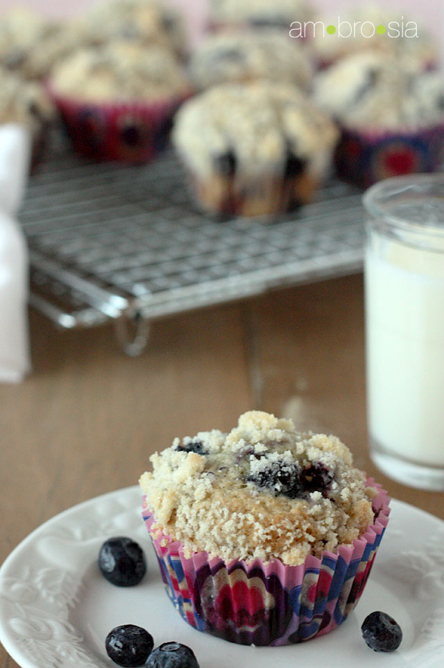 ambrosia: Browned Butter Blueberry Crumb Muffins