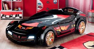 Siyah arabal%C4%B1 yatak modeli 550x287 Arabalı yatak modelleri