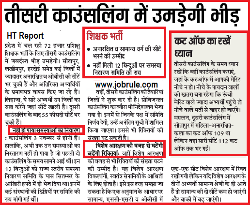 UPTET SCERT 72825 3rd Counseling Cut Off Merit List JRT/PRT Related latest/Current News Paper Report