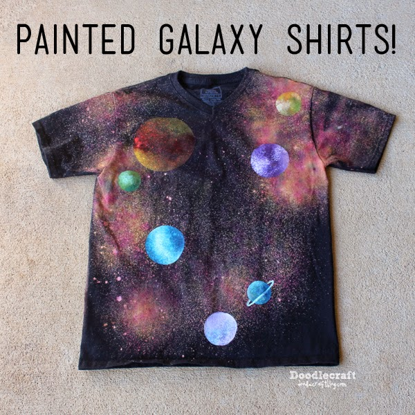 doodlecraft glitter painted galaxy shirts. Black Bedroom Furniture Sets. Home Design Ideas
