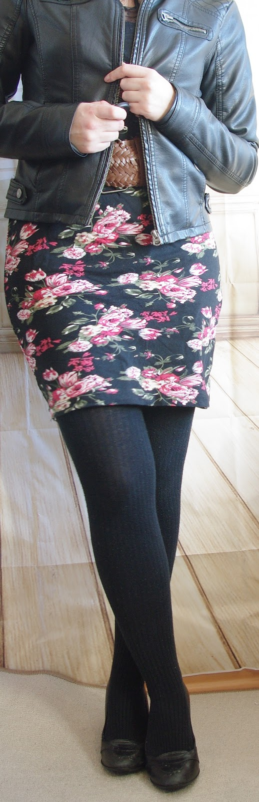 Floral dress in Winter, Tights, Leather Jacket Outfit