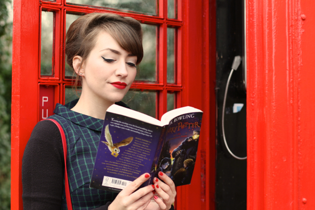 B&B check dress with red phone box library