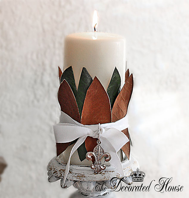 How to Create a Magnolia Wrapped Candle by The Decorated House : Fall - Christmas Decorationss