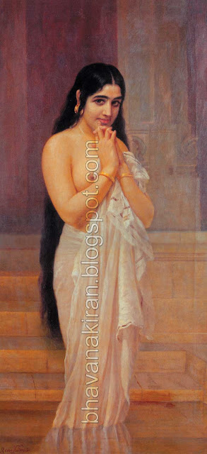 Raja Ravi Varma's Paintings: Malayali lady's Romantic look with shy