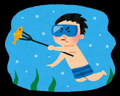 魚をモリで突いているイラスト