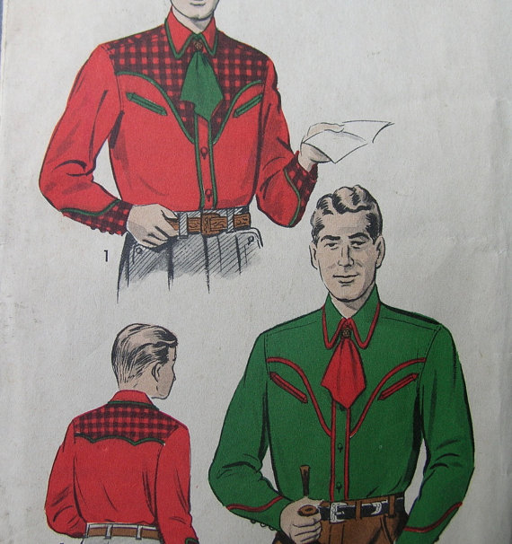 1950s mens western wear shirt vintage pattern Just Peachy, Darling