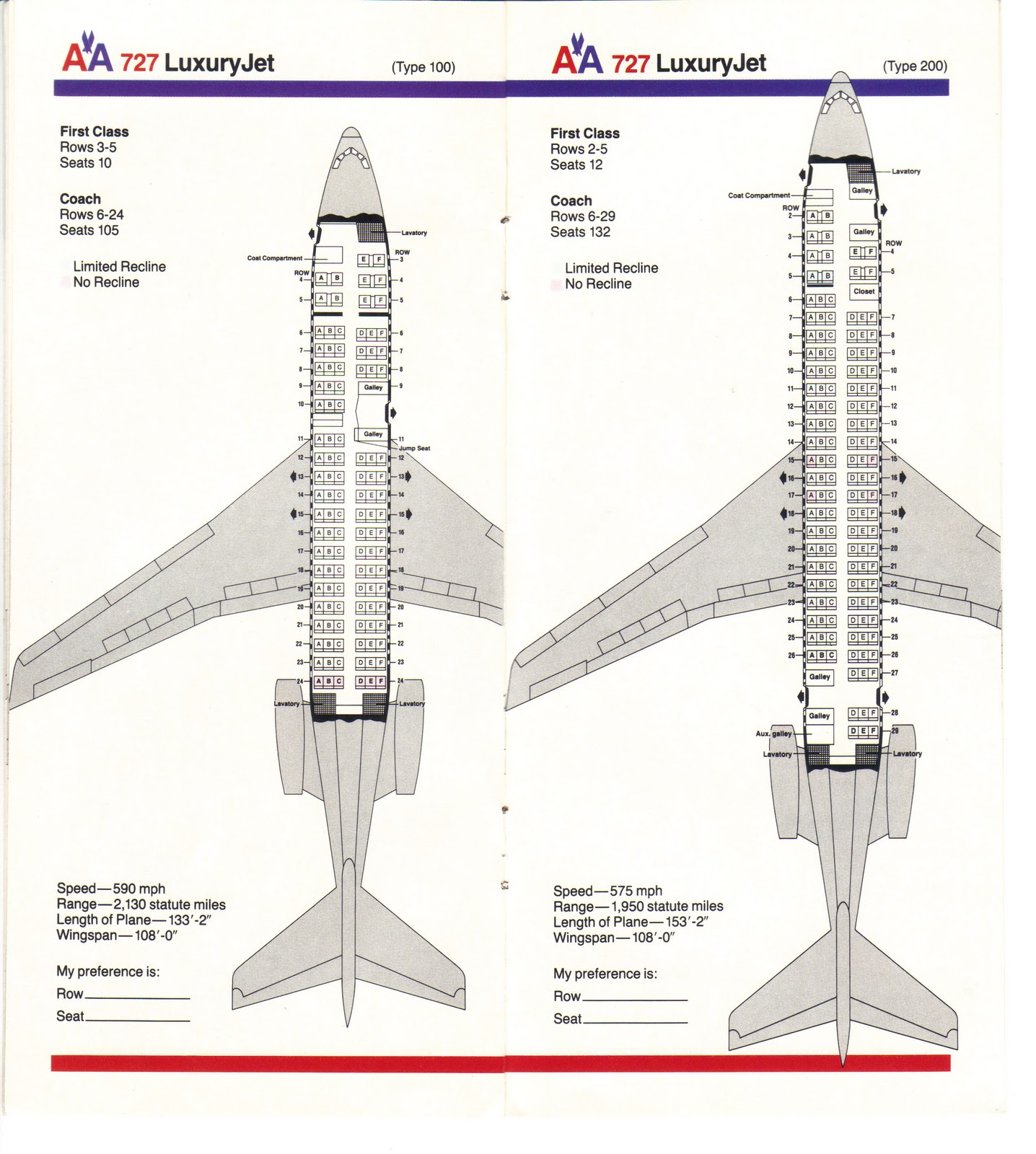american airlines boeing 727 seating guide map