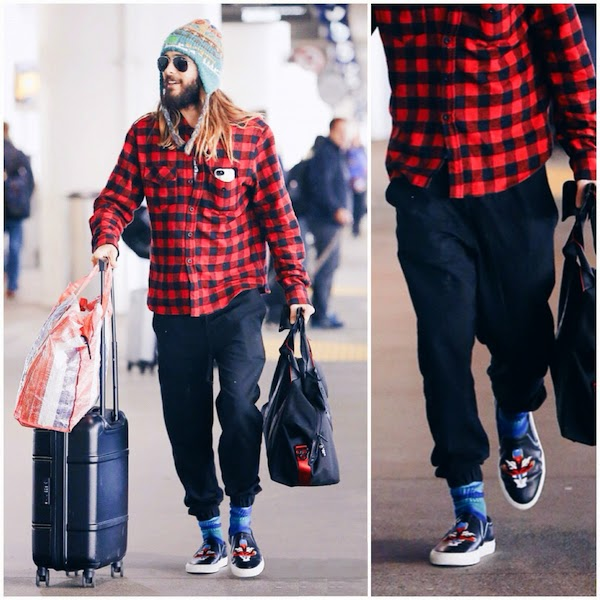 Jared Leto wears Givenchy slip on sneakers at LAX Los Angeles Airport 2nd November 2014