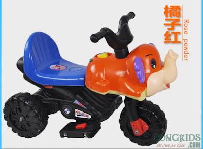 Xe máy điện trẻ em hình con voi màu cam