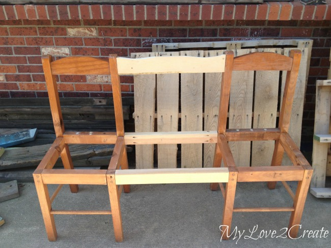 using wood to attach two chairs to make a bench