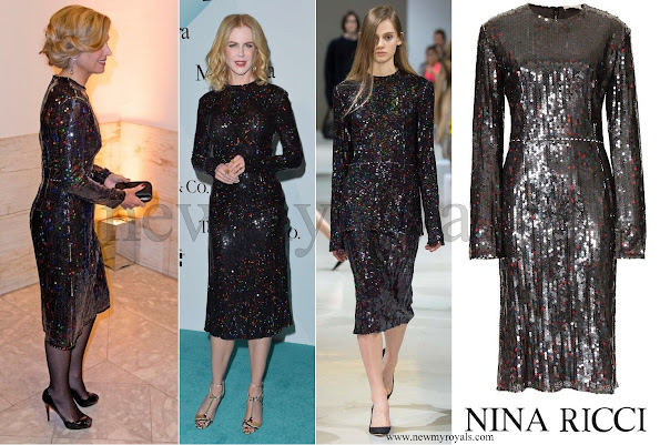 Queen Maxima wore a long sleeve Sequinned dress from NINA RICCI Fall-2015 collection.