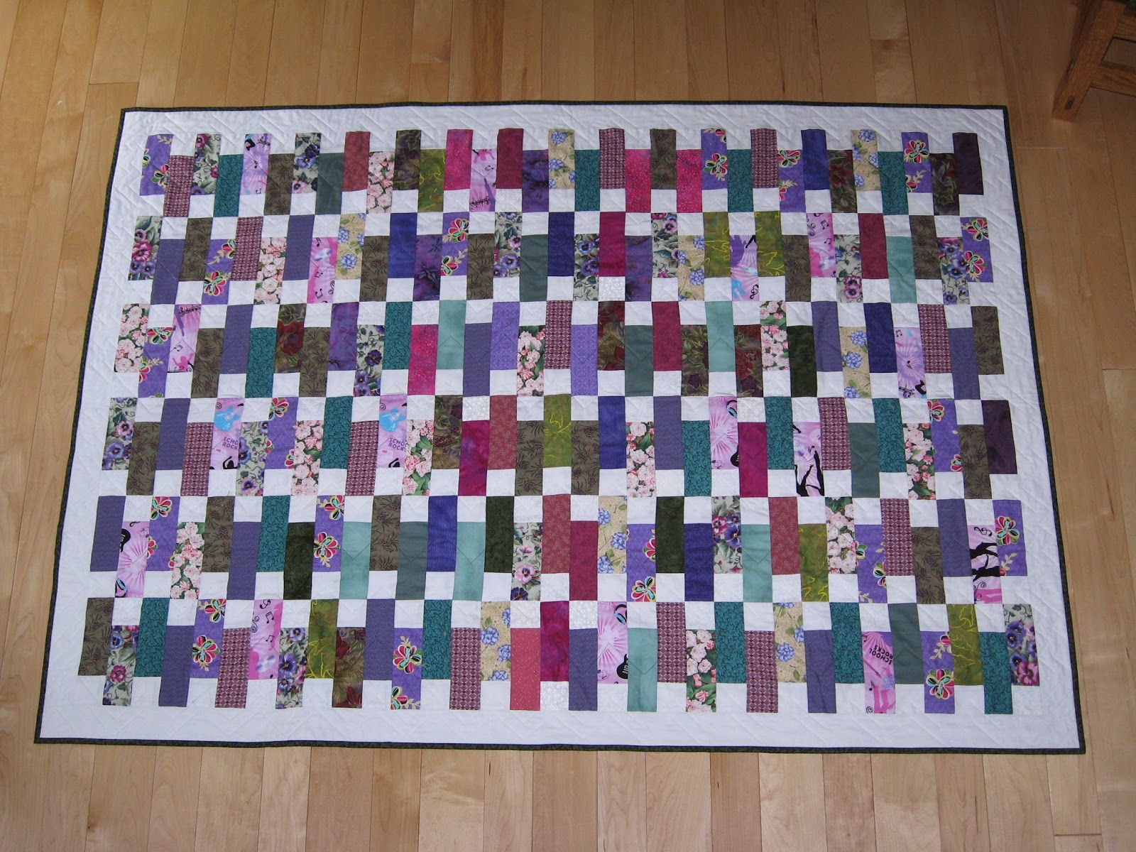 Random Acts Of Stitching Scrap Quilt With 2 1 2 Inch Strips