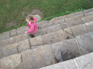 Girl walking the steps