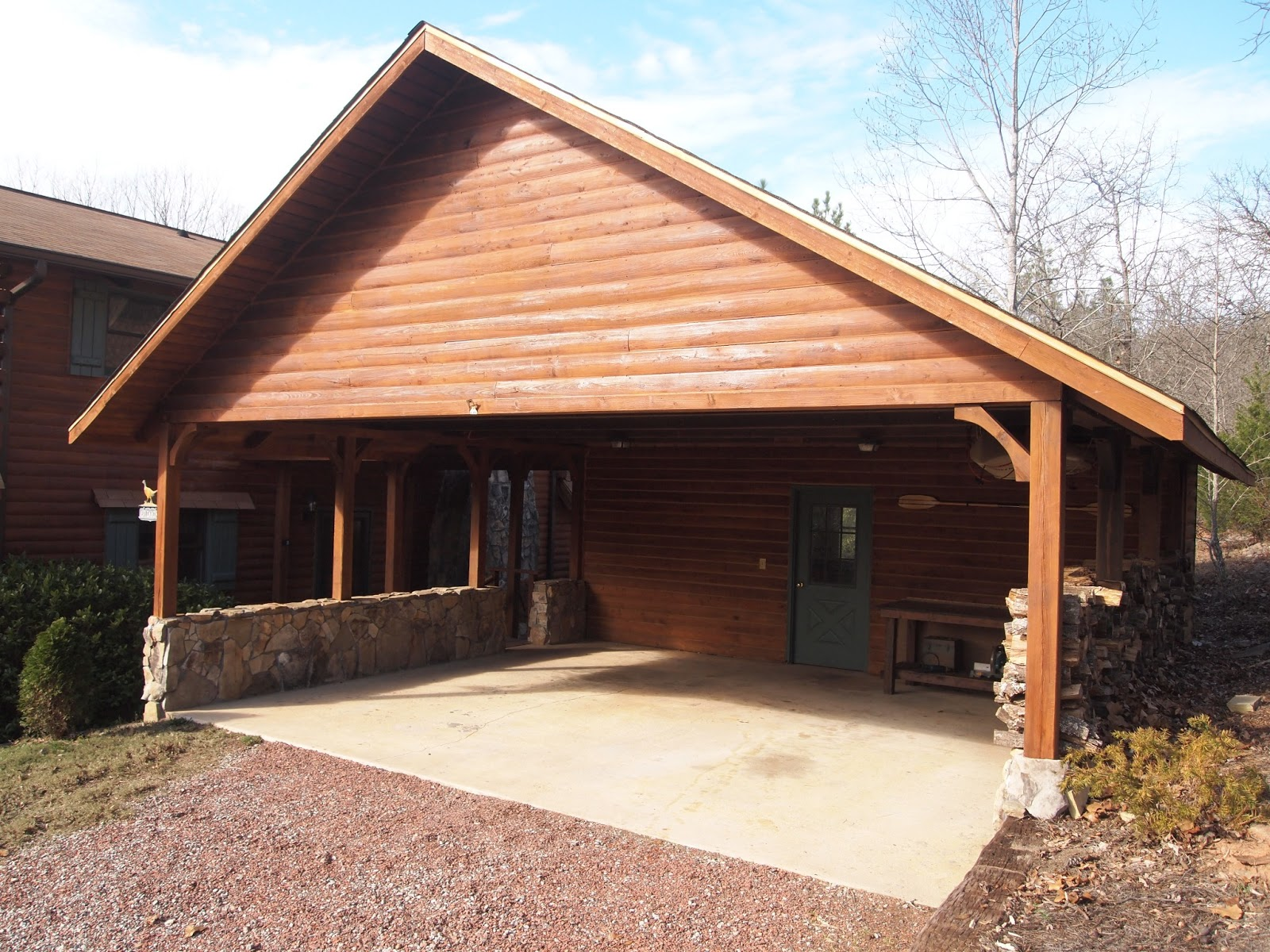 For sale cypress log home the carport for Log carports