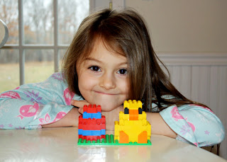 "Tessa's completed ""Build A Chick and Egg!"" Lego creation."
