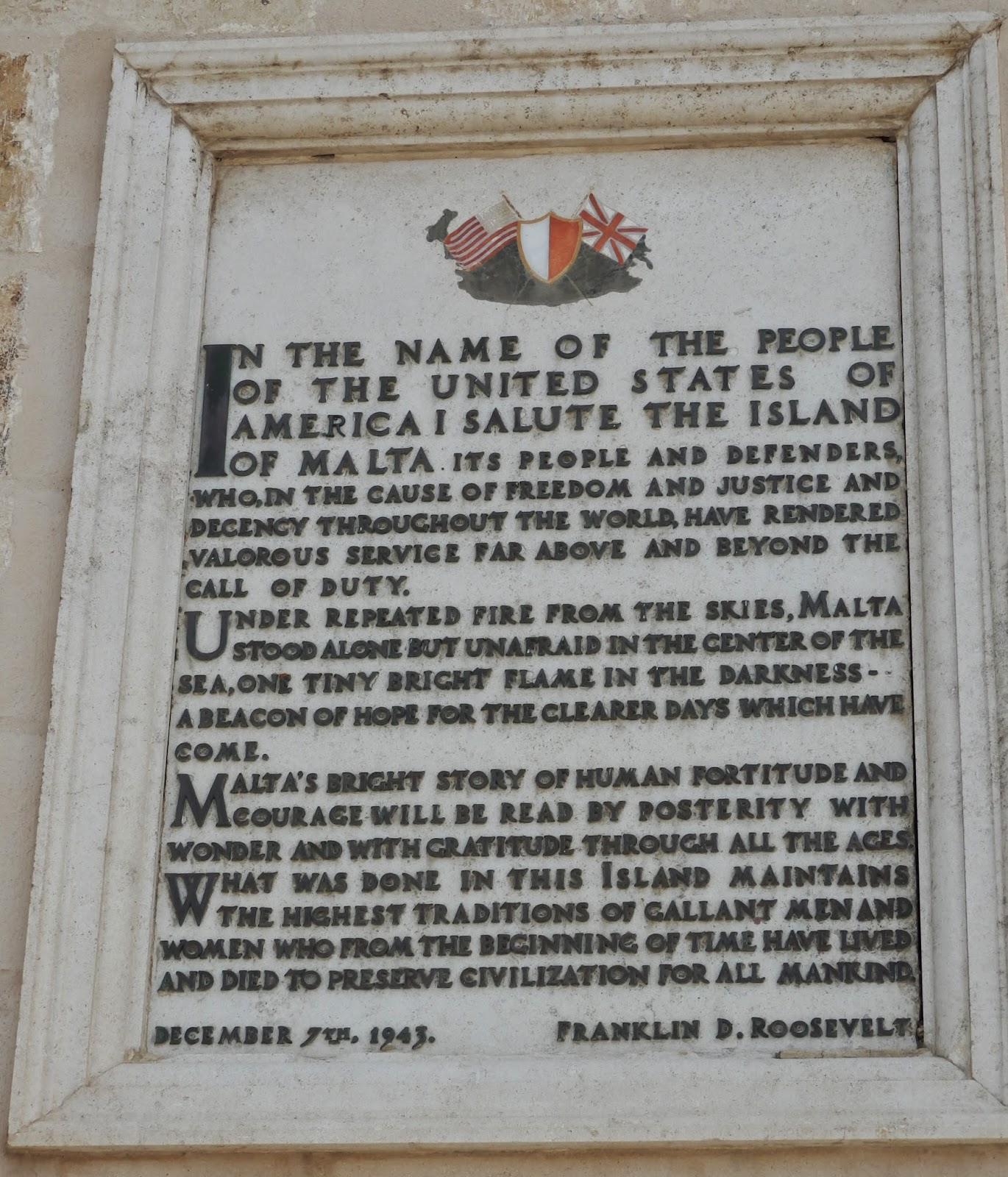 Letter from Franklin D Roosevelt to the people of Malta