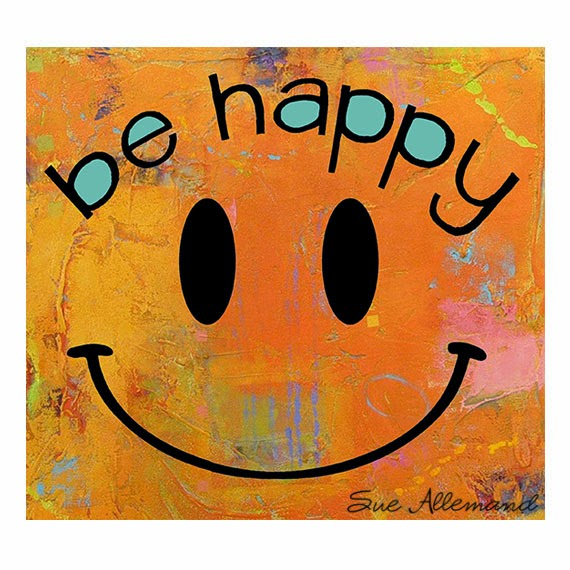 """Be Happy Smiley"" Art Print by Sue Allemand, www.sueallemandart.com"