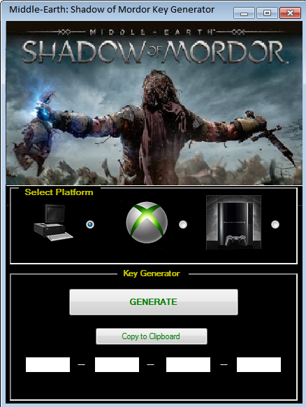 Middle-Earth: Shadow of Mordor Key Generator