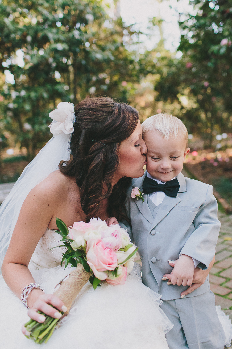 wedding, bride, bridal, details, kiss, married, mother and son, fort valley, massee lane, garden, georgia, macon, wedding photography