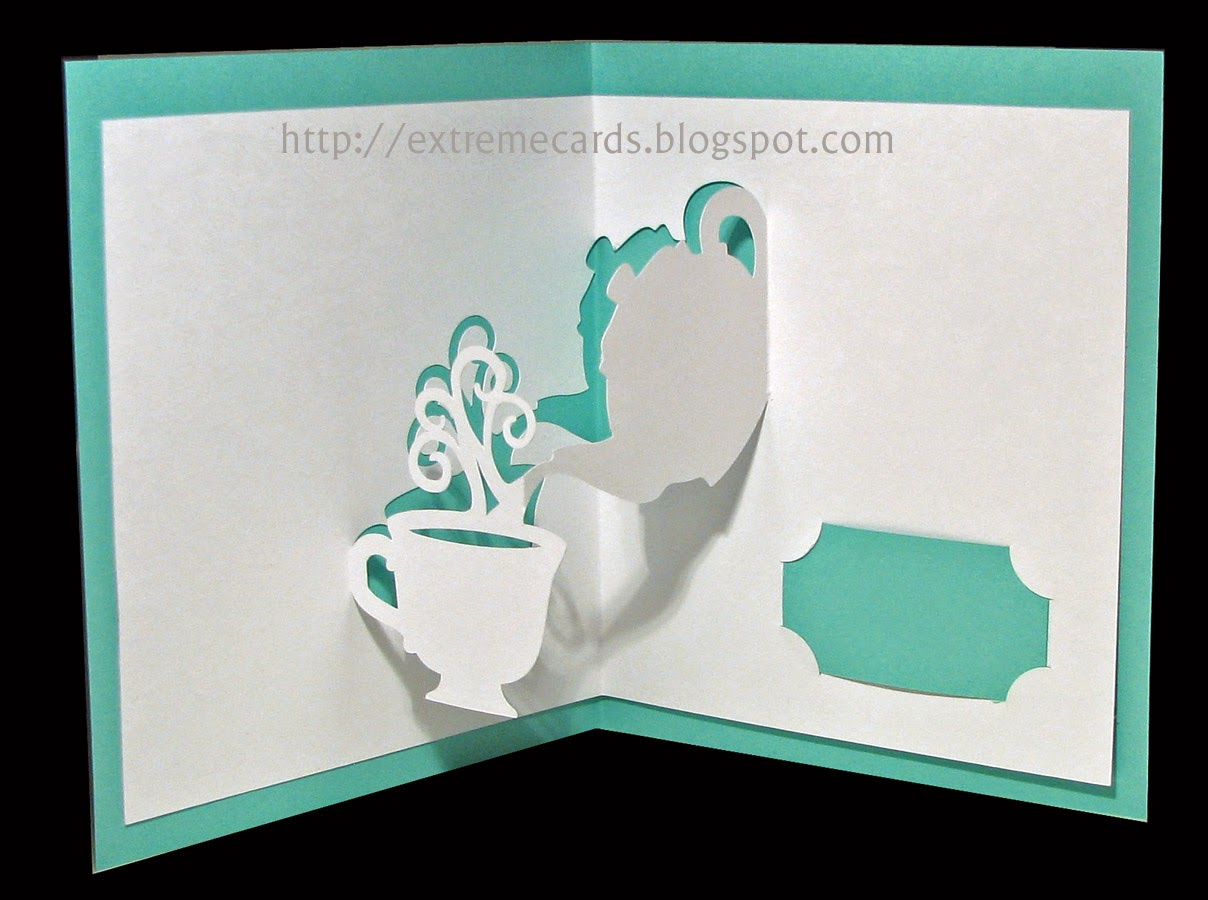 teapot and cup pop up card open