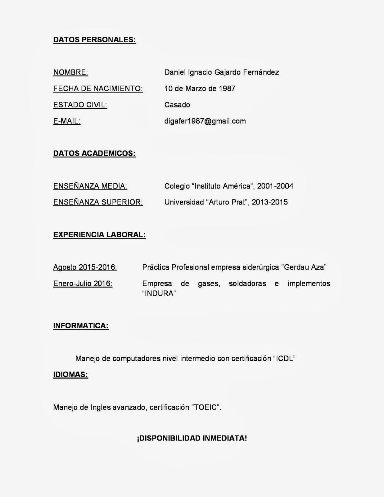 Daniel Gajardo Fernández Tecnico En Prevención De Riesgos ...