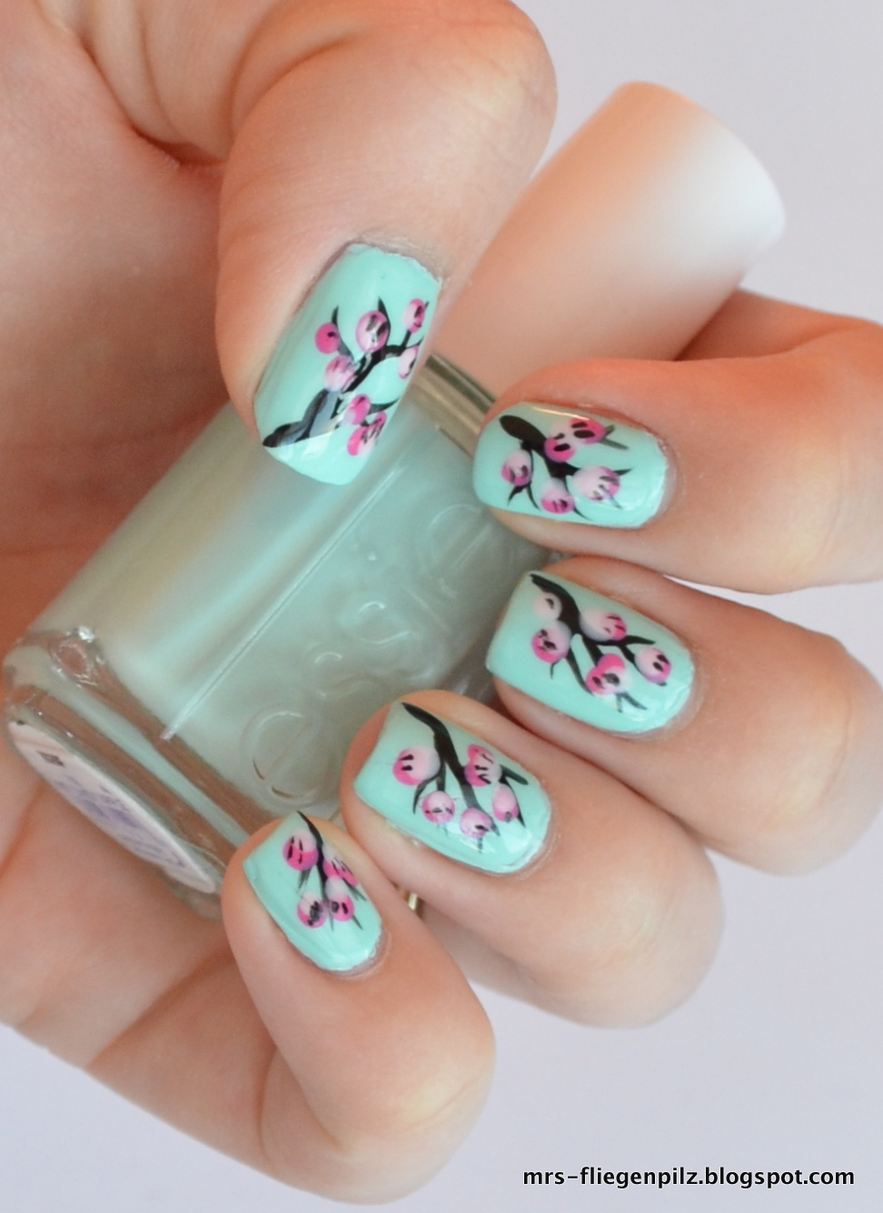 Pink And Mint Nail Designs