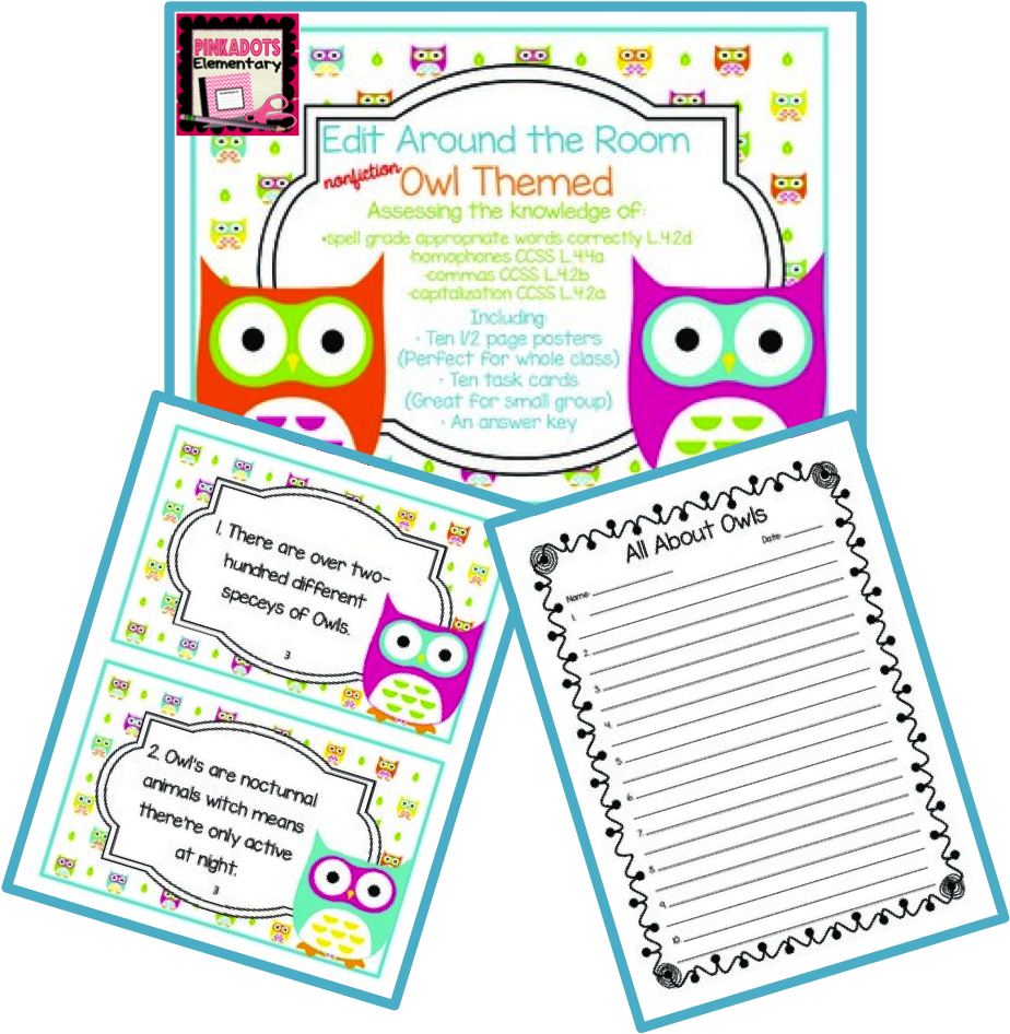 http://www.teacherspayteachers.com/Product/Edit-Around-the-Room-Facts-About-Owls-Nonfiction-Editing-CCSS-Aligned-1329971