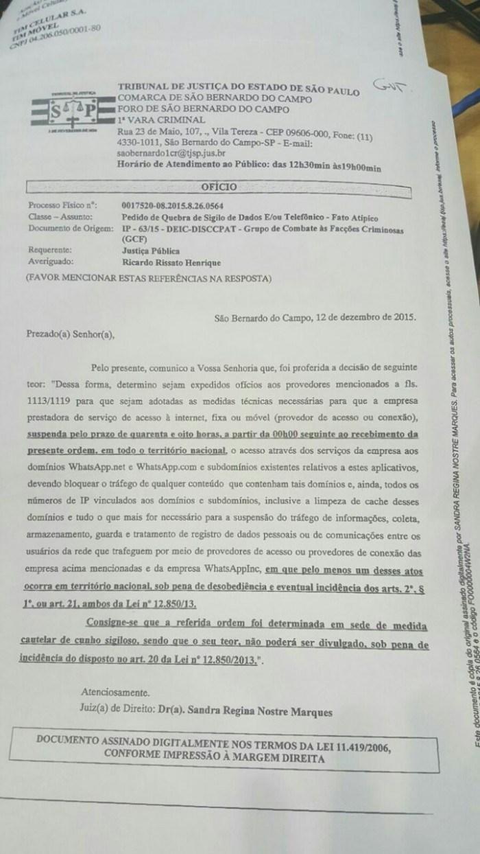 Ofício de ordem obtido pelo usuário Paulo Rená (twitter: @prenass)