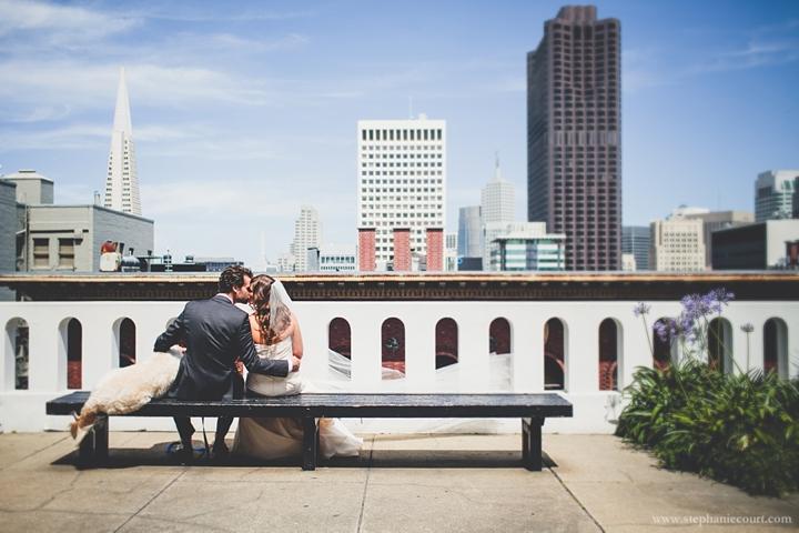 """bride and groom at urban chic san francisco wedding"""
