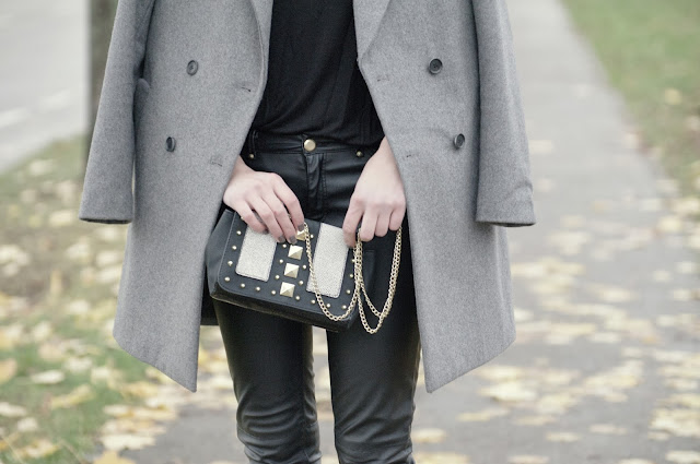 zaragrey  oversized coat, no shape coat, leather pants H&M aw 2013 2014, all black outfit ootd, fashion blogger blog, style blogger, street style ljubljana slovenia, h&m studded bag