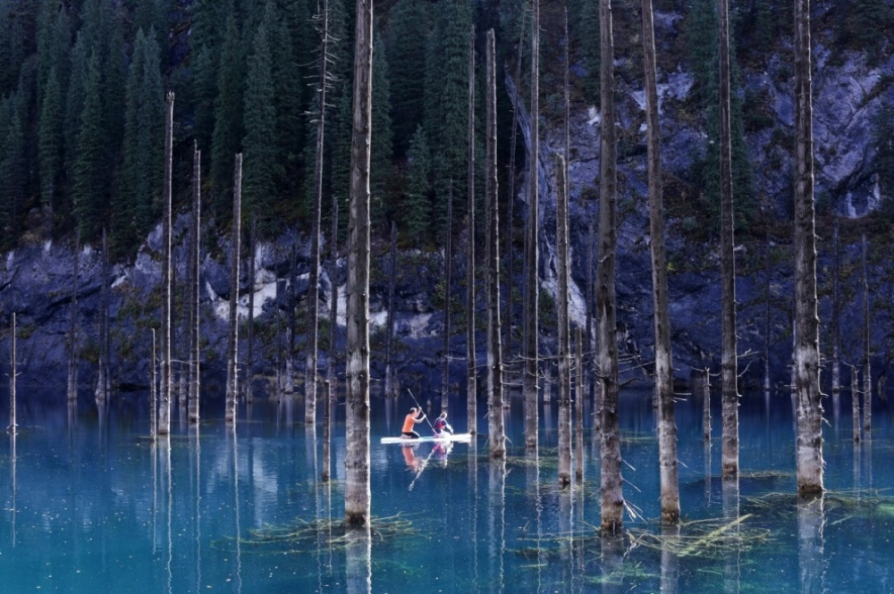 The 100 best photographs ever taken without photoshop - Kaindy Lake appeared just 100 years ago due to a severe earthquake in Kazakhstan