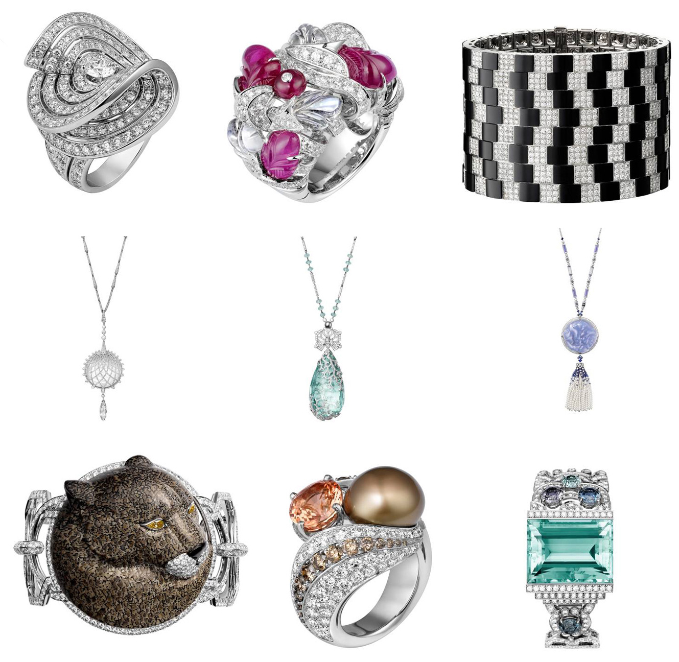 Take a look at all jewelry collections Cartier created: rings, necklaces, bracelets.