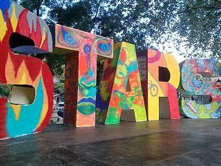 Las letras STARS en el escenario del Día Sin Coches