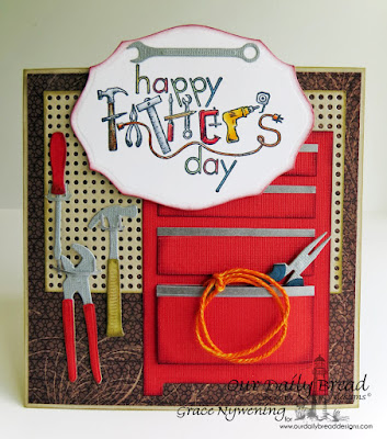 Our Daily Bread Designs Stamp sets: Father's Day Tools, ODBD Custom Dies: Pegboard and Hooks , Workshop Tools, Elegant Ovals, ODBD Vintage Ephemera Paper Collection