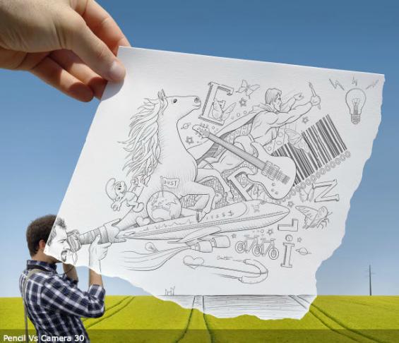 Çizim Çizer Sanat Sanatçı Fotoğrafçılık Başarılı Sanat Yaratıcı Sanat mükemmel görsel görseller fotoğrafçı altın kural pencil vs camera başarılı fotoğrafçı nasıl olunur sanatta başarılı nasıl olunur sanatsal fikir üretgen kişiler buluş kalem kameraya karşı