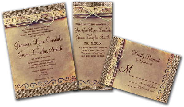 Wedding Cards and Gifts Rustic Country Vintage Burlap Wedding – Burlap Wedding Invite