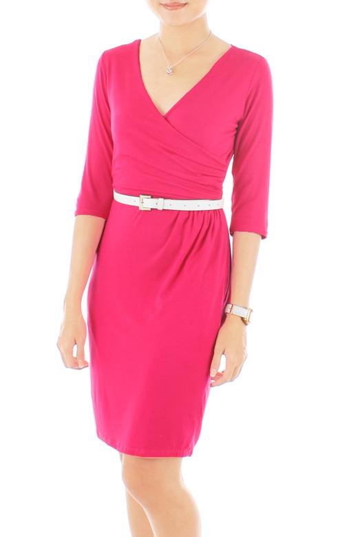 Secret Dreams Wrap Dress - Hot Pink
