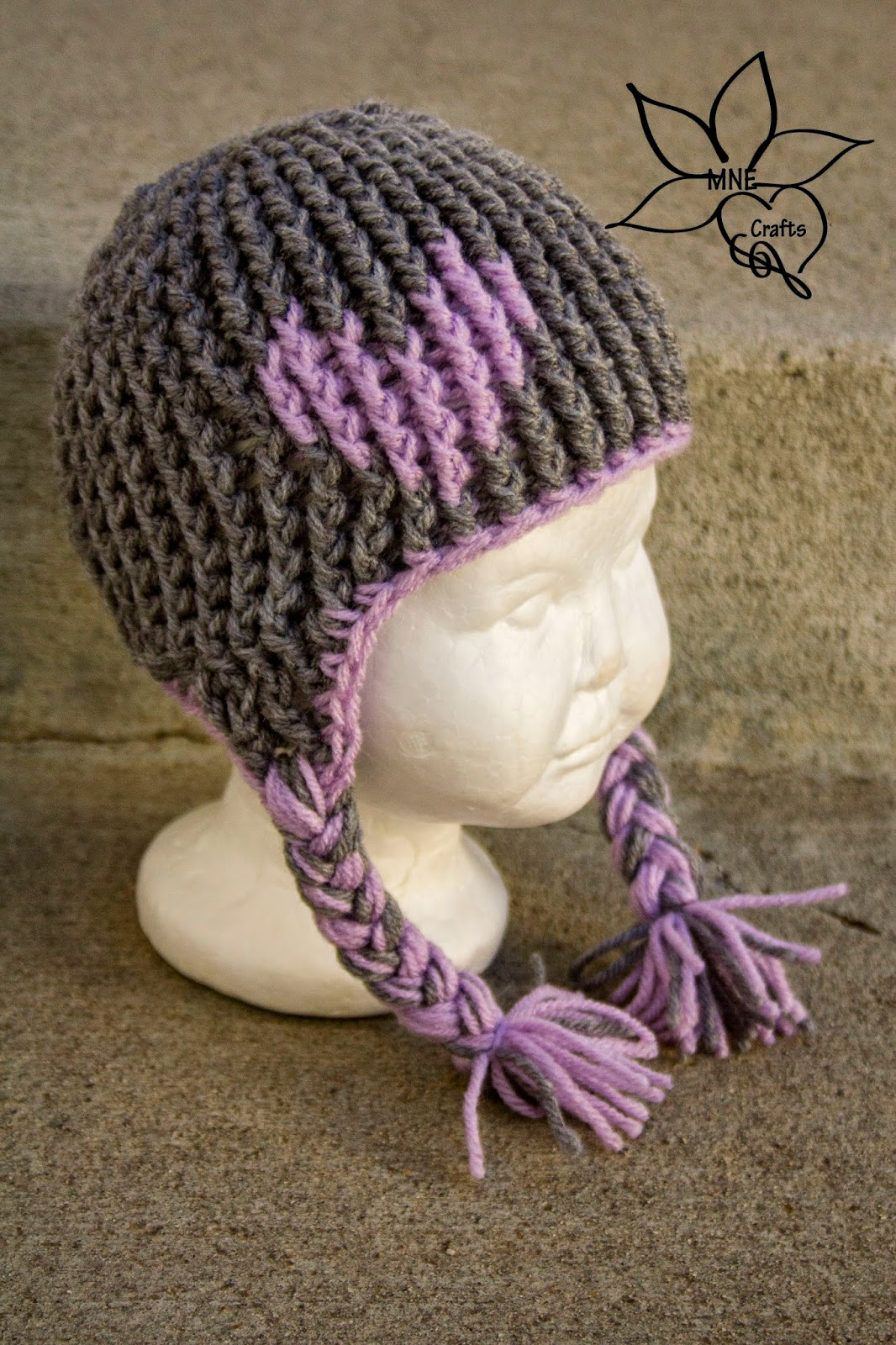 Free Crochet Pattern Toddler Hat Ear Flaps : MNE Crafts: Full of Love Ear-flap Beanie