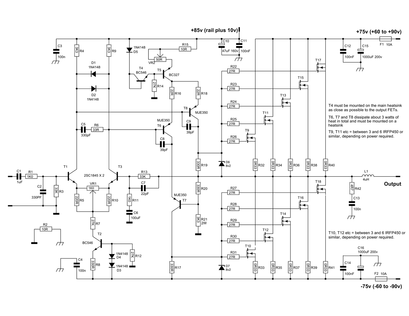600 Watt Mosfet Power Amplifier Diagram With Pcb