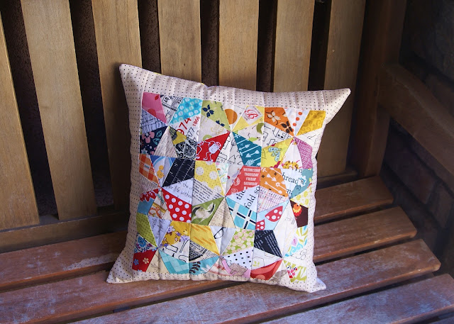 Scrappy Kaleidoscope Pillow by Fabric Mutt