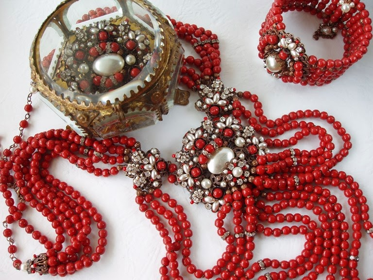 Assemblage Jewelry Antique Trade Prosser Beads Statement Necklace Cuff Brooch Red Lipstick