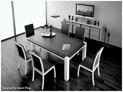 Muebles modernos de comedor en blanco y negro for Comedor blanco y negro