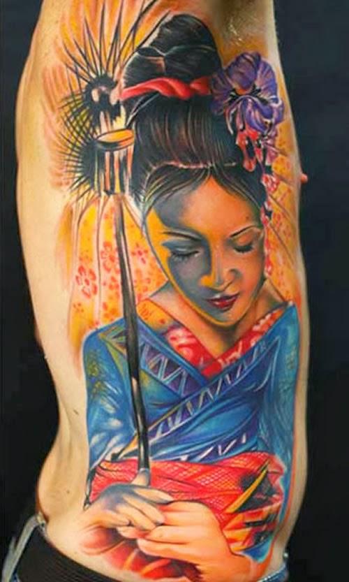 Tatuagem Gueixa costela