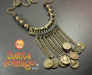 Collar con cuentas bronce, cadena y monedas en estilo étnico