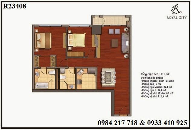 Mua bán căn hộ chung cư Royal City, căn hộ R23408 diện tích 111 m2 thiết kế với 2 phòng ngủ có mặt thoáng hướng ra ngoài khoảng không.