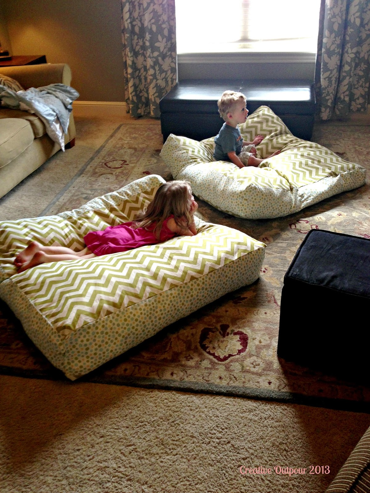 How To Make A Giant Floor Pillow : Floor Pillows Completed! - Creative Outpour