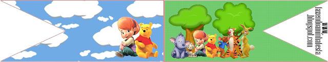Etiqueta de Winnie de Pooh y sus amigos para banderines para sandwichs.