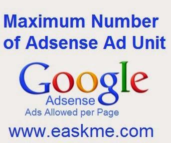 Maximum Number of Adsense Ad Unit : eAskme