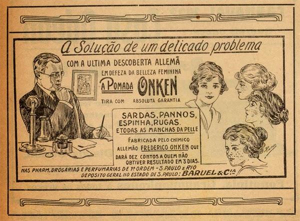Propaganda da Pomada Onken, veiculada em 1922 para tratamentos dos mais variados problemas de pele.