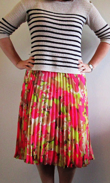 Understated Classics_striped sweater floral skirt